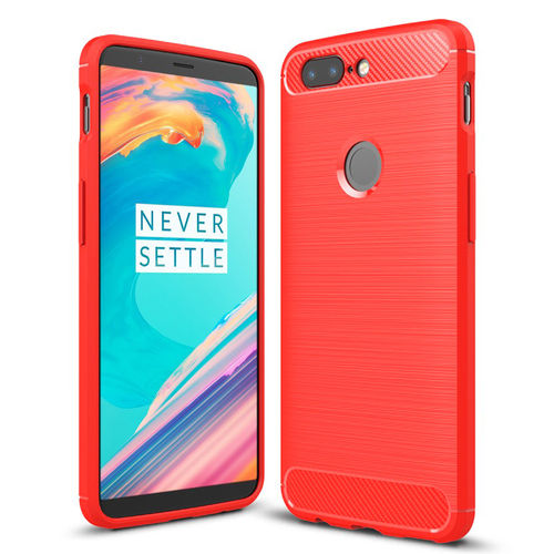 Flexi Carbon Fibre Tough Case for OnePlus 5T - Brushed Red